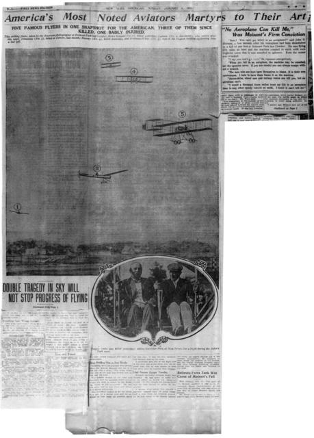Greatest American Flyers, Moisant and Hoxsey, Are Both Killed on Same Day [New York American, 1 January 1911]