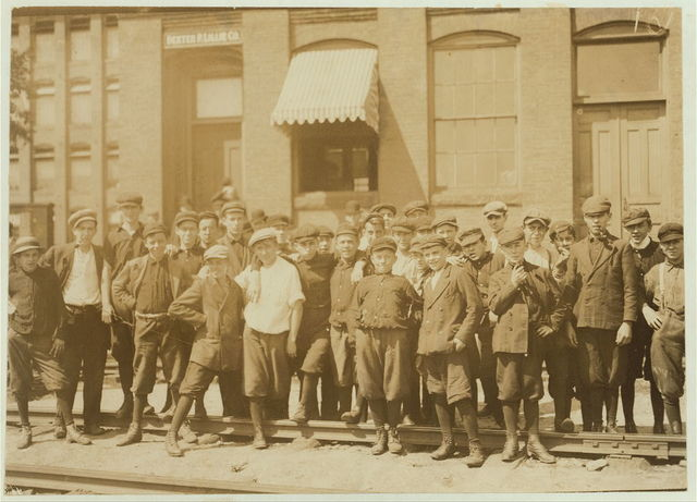 [Group in front of Indian Orchard Mfg. Co. Everyone in public was working, (see previous lists of names).]  Location: Indian Orchard, Massachusetts.