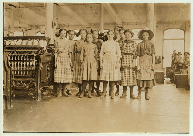 Group of adolescent spinners in Washington Cotton Mills, Fries, Va. The youngest ones would not be photographed. (see exterior views.)  Location: Fries, Virginia.