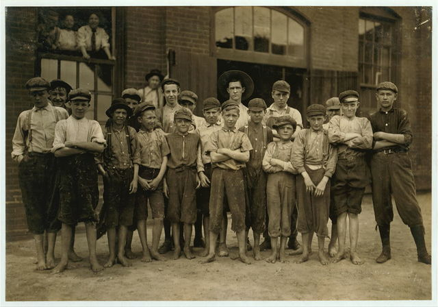 Group of doffers in Riverside Cotton Mills, Danville, Va. Some are surely under fourteen, but not many.  Location: Danville, Virginia.
