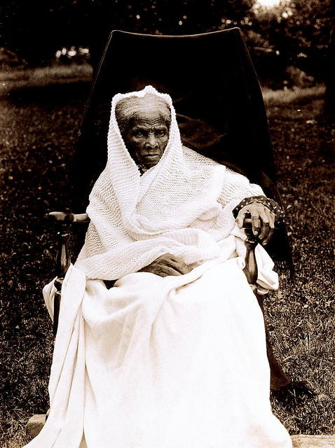 [Harriet Tubman, full-length portrait, seated in chair, facing front, probably at her home in Auburn, New York]