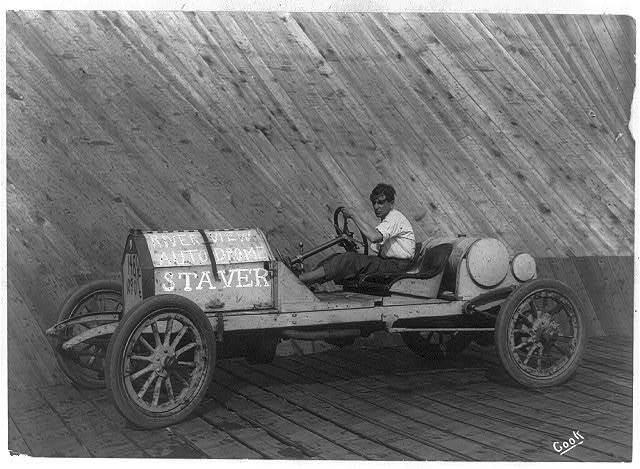 [Harry L. Curran in a Staver automobile in the autodrome at Riverview Exposition, Chicago]