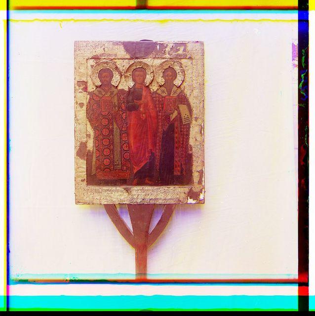 Ikona Vladimirskoĭ Bozhʹeĭ Materi (obr. stor.). V riznit︠s︡i︠e︡ Ipatʹevskago monastyri︠a︡. Kostroma
