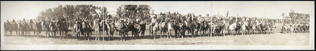 """Indians on dress parade, """"The Round-Up"""", Pendleton, Ore., 1911"""
