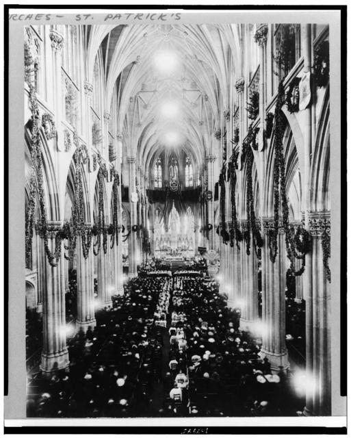 [Interior of St. Patrick's Cathedral, during services at Christmas time(?), New York City]