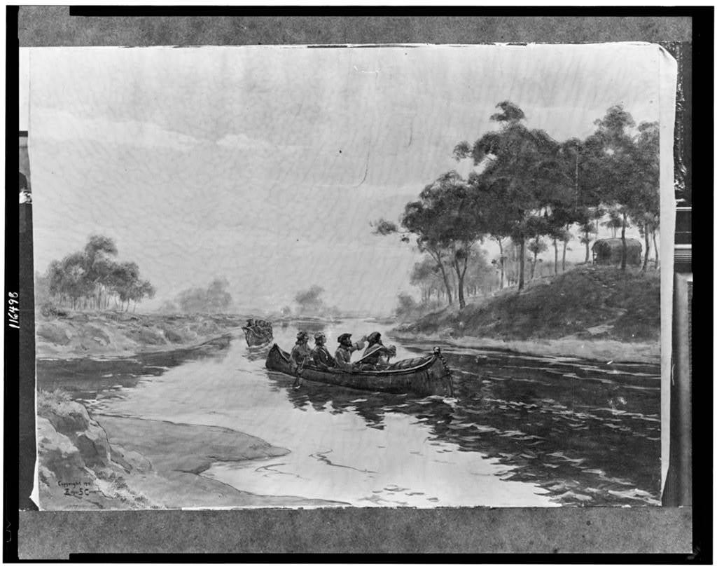 [Jacques Marquette and Louis Joliet in canoe, with two other men, 1673]