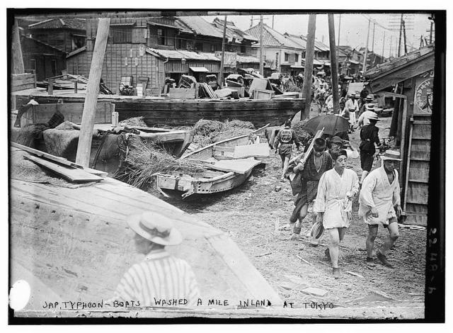 Jap[anese] typhoon-boats washed a mile inland at Tokyo