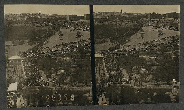 Jerusalem from the Mt. of Olives, showing the throngs in the city at Passover time
