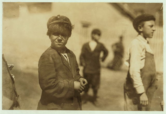 [Joe Mello, 62 Grinnel [i.e., Grinell?] St., New Bedford. Appeared about eight or nine: could not speak English except to tell us that he was a sweeper in the spinning room (two other boys confirmed this); watched him go in at noon and come out at 6 P.M. on Aug. 21, 1911. At the houses his mother gave his name as Jose Mello, ten years old. There was no certificate for this boy at the superintendent's office. Birth records ambiguous.] Witness R. K. Conant.  Location: New Bedford, Massachusetts.