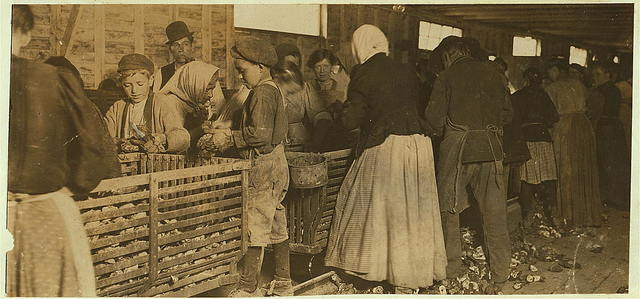 """Johnnie, a nine-year-old oyster shucker. Man with pipe is a padrone who had brought these people from Baltimore for four years. He said, """"I tell you I have to lie to 'em. Ther're never satisfied. Hard work to get them."""" He is boss of the shucking shed.  Location: Dunbar, Louisiana."""