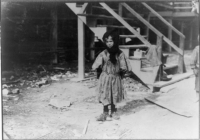 Katie Kuritzko, 7-year-old oyster shucker. Has mumps now. Her 8-year-old brother also shucks.  Location: Dunbar, Louisiana.