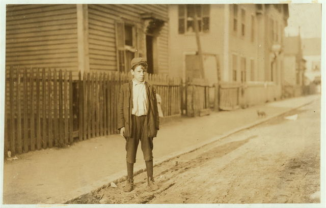 "Leopoldo Andreoli, 208 Elm St. Very young--appears 11 or 12 years old. Is a ""Loom boy"" in spinning room of the Ayer Mill; has a steady job now and makes $5.15 a week now.  Location: Lawrence, Massachusetts."