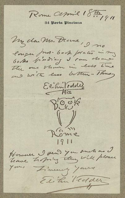 [Manuscript letter from artist, Elihu Vedder to Ruthven Deane, with original bookplate drawing]