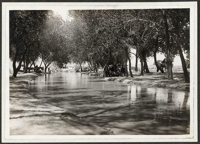 [Men and horses on sides of a tree-lined stream during the Mexican Revolution]