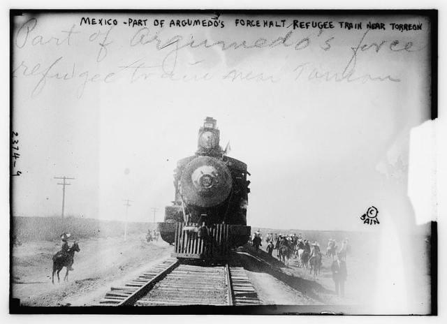 Mexico - part of Argumedo's Force Halt Refugee Train near Torreon