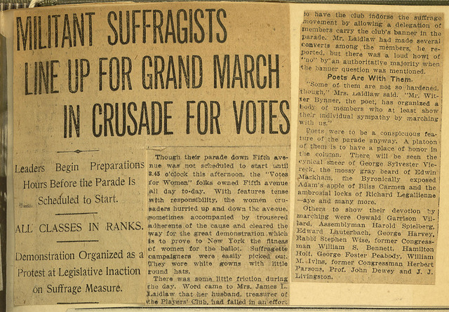 Militant Suffragists Line Up for Grand March in Crusade for Votes