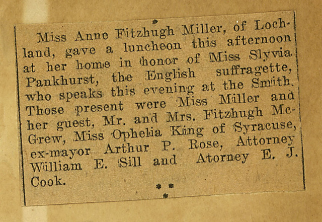Miss Anne Fitzhugh Miller, of Lochland entertains Sylvia Pankhurst at luncheon