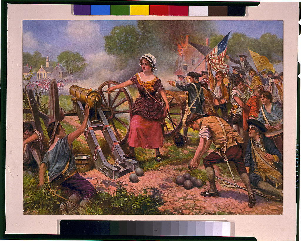 [Molly Pitcher firing cannon at Battle of Monmouth] / E. Percy Moran.