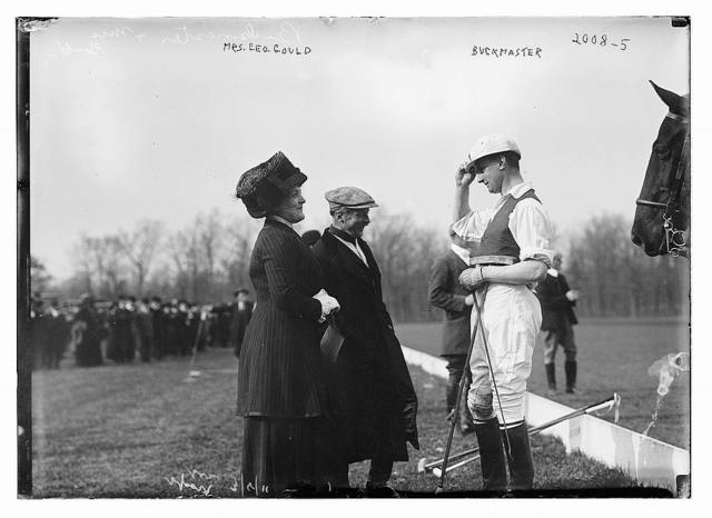 Mrs. Geo. Gould & Buckmaster on polo field