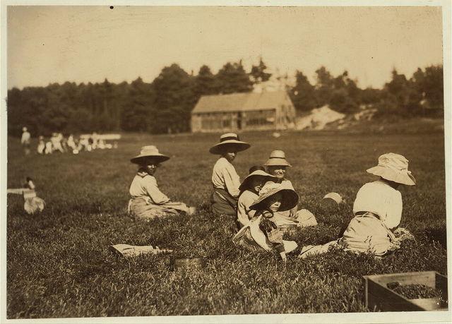Mrs. Willett and two little girls. Said 8 and 12 years old. Living in W. Wareham, Mass.  Location: Rochester [vicinity] Eldridge Bog, Massachusetts.