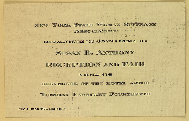 New York State Woman Suffrage Association invitation to Susan B. Anthony Reception and Fair