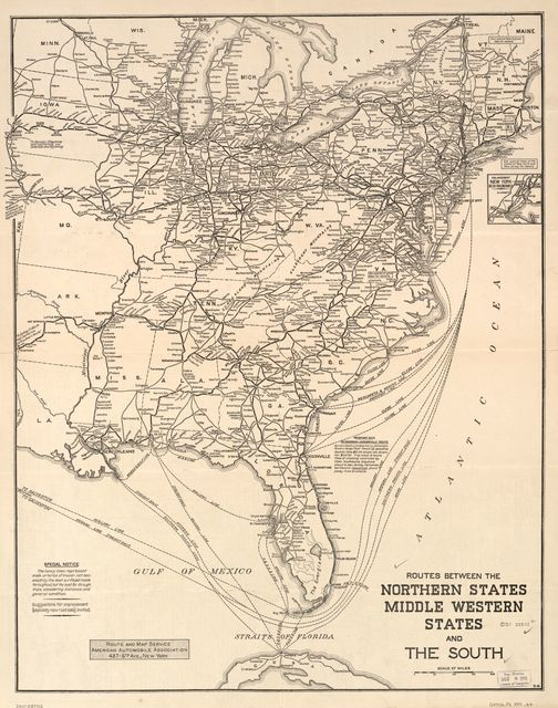 North and South, map of main-traveled routes : showing principal roads in the Northern and Central Western States, and their connections with the main-traveled highways of the South : [Eastern U.S.] /