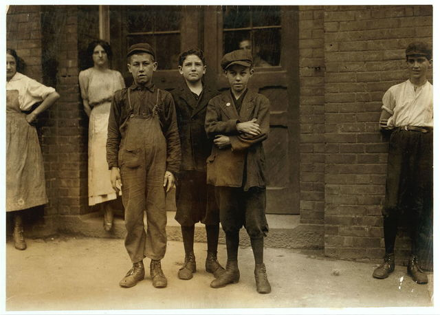 On right hand is Richard Fitzgerald, 53 Montgomery St., works in twisting room of Eclipse Mills, No. Adams. On left hand, Joseph Adams, 107 Front St., works in twisting room of Eclipse Mills,.  Location: North Adams, Massachusetts.