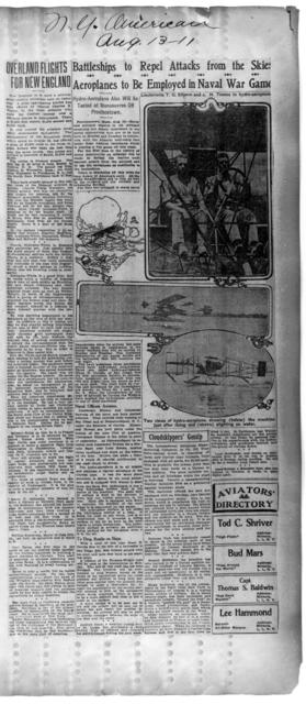 Overland Flights for New England; and Battleships to Repel Attacks from the Skies [New York American, 13 August 1911]