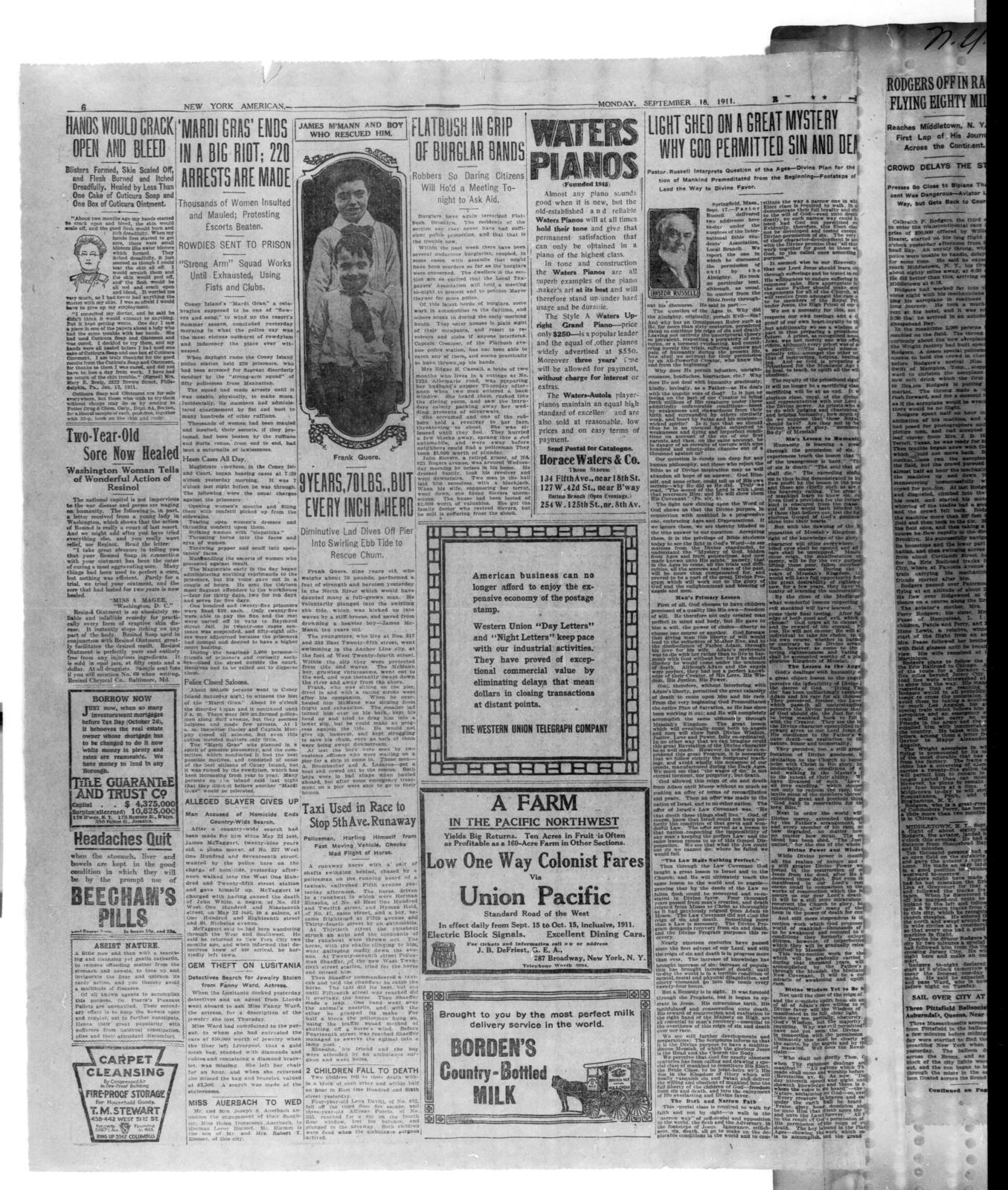 [Pages 5 and 6 of New York American, 18 September 1911]