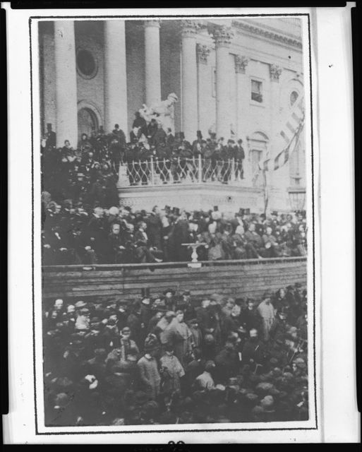 [President Abraham Lincoln delivering second inaugural address in front of the United States Capitol, March 4, 1865]