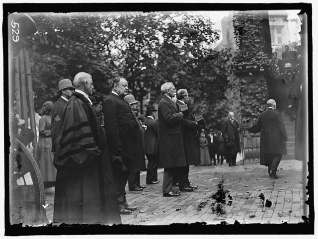 RADCLIFFE, DR. WALLACE; HOLMES, OLIVER WENDELL; HUGHES, CHARLES EVANS HARLAN, JOHN MARSHALL, ASSOCIATE JUSTICE, U.S. SUPREME COURT, 1877-1910. FUNERAL AT NEW YORK AVENUE PRESBYTERIAN CHURCH