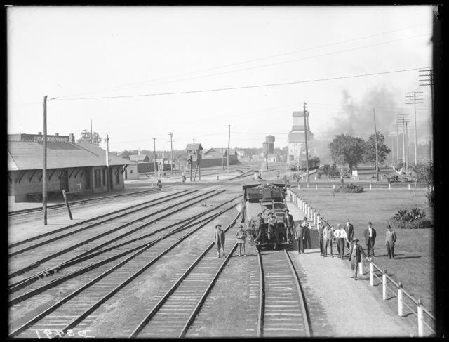Railroad yard and Burlington Station, looking west, Kearney, Nebraska.