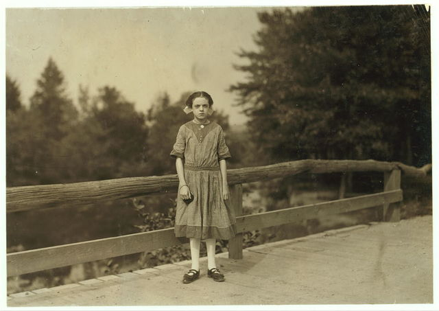 "Rosina Goyette, Maple St. Apparently 12 but says she is 14; has steady job doffi[ng] and spinning in Spring Village Mill. She said at first she had been working six months, later she changed it to three weeks. Her partner said, ""a few weeks.""  Location: Winchendon, Massachusetts."