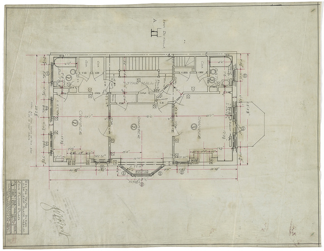 [Row house for the Misses Buford (or Beauford), 2134 Leroy Place, N.W., Washington, D.C. 2nd floor plan]