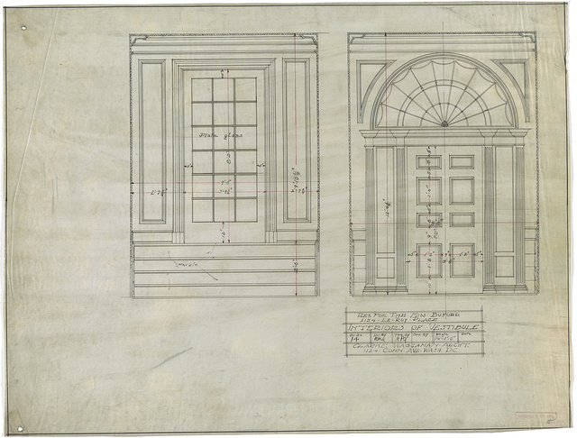 [Row house for the Misses Buford (or Beauford), 2134 Leroy Place, N.W., Washington, D.C. Interiors of vestibule]