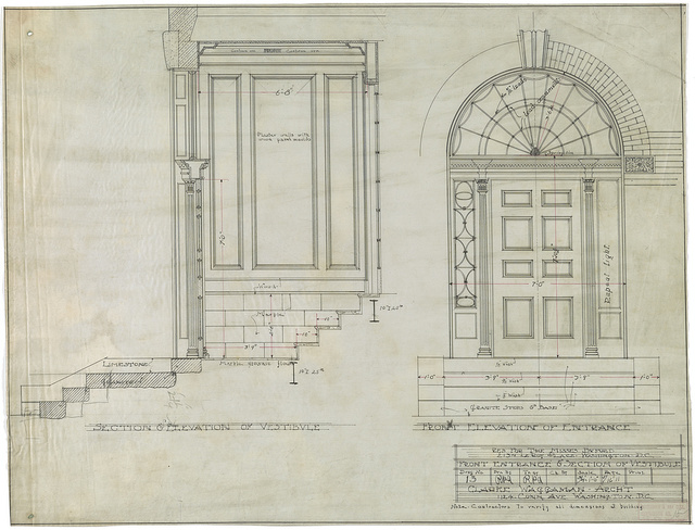 [Row house for the Misses Buford (or Beauford), 2134 Leroy Place, N.W., Washington, D.C. Front entrance & section of vestibule]
