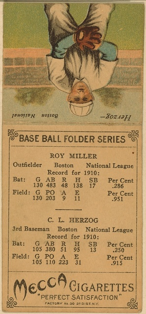 [Roy Miller/C. L. Herzog, Boston Doves, baseball card portrait]