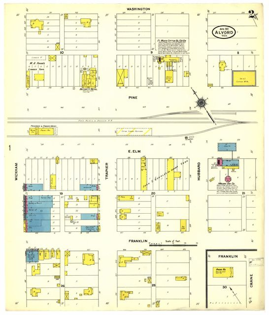Sanborn Fire Insurance Map from Alvord, Wise County, Texas.