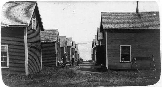 Settlement of sardine workers, Seacoast Canning Co., Factory #2. Many of them come from neighboring towns, such as Perry.  Location: Eastport, Maine.