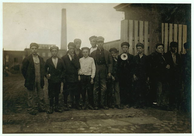 Shots of the young workers going in to Ayer Mill, 6:30 to 7 A.M., Sept. 11, 1911. All work.  Location: Lawrence, Massachusetts.