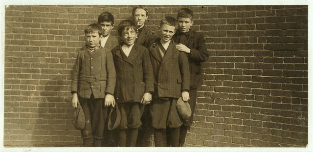 Smallest, Robert Magee (left hand), other two are; Edward Foster, 40 Fulton St. and John Neary, 211 Lakeview Ave., front row. Left hand, Robert Magee (see #2617). Right hand, Michael Keefe (see #2602). Middle, John Risheck. 391 Adams St., back row. Cornelius Hurley (see #2602).  Location: South Framingham, Massachusetts.
