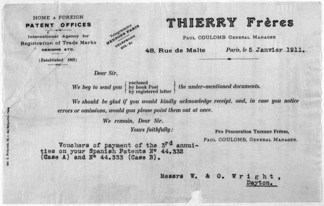 Subject File:  Foreign Business--Agents and Representatives--Thierry Brothers, January-June 1911