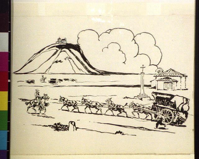 [Team-driven wagon leaving town near mesa, Spain]