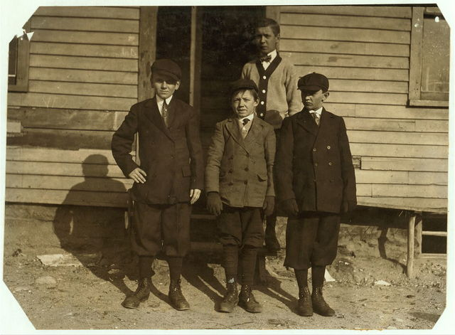 Teddy Szlosek, (Josef's Brother) (on right hand). Stanley Rogesky, 8 Joy St., Illiterate. A band boy in #10 mill. His playmates at school say he may be fourteen but not any more, and that he had been working there a long time.  Location: Ludlow, Massachusetts.