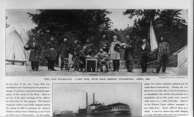 The Last exchange. Camp Fisk, Four Mile Bridge (Vicksburg), April, 1865