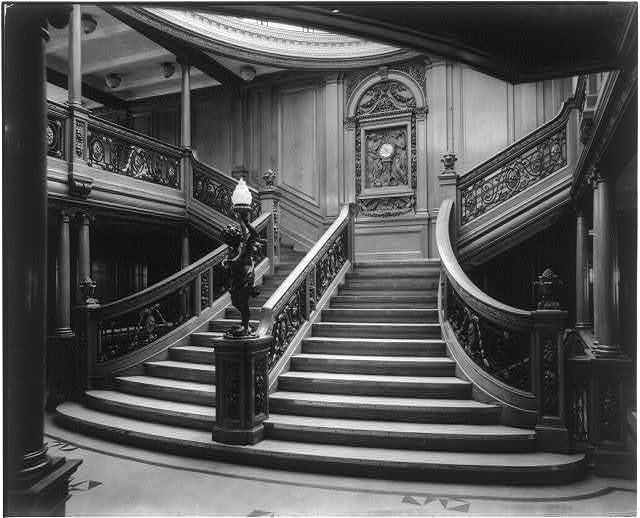 [The S.S. OLYMPIC, 1911: Grand stairway, second landing]