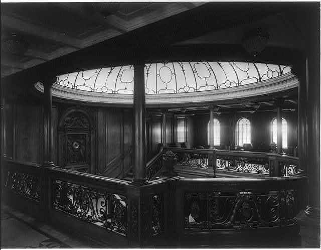 [The S.S. OLYMPIC, 1911: Main stairway]