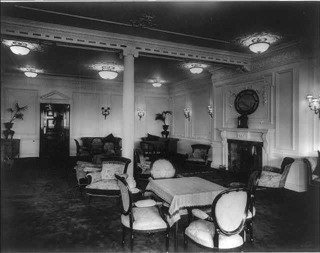 [The S.S. OLYMPIC, 1911: Reading room]