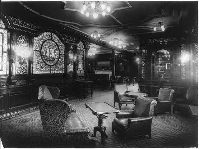 [The S.S. OLYMPIC, 1911: Smoking room]