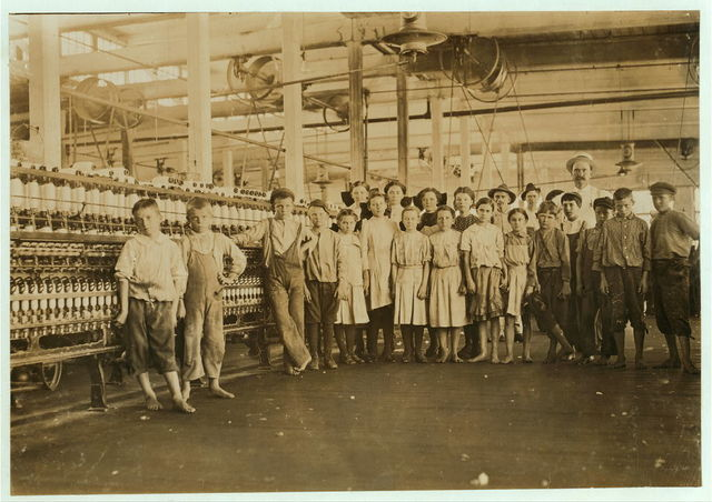 The Supt. and the group of children under sixteen years starting work after noon, May 9, 1911.  Location: Yazoo City, Mississippi.